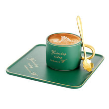 European-style coffee cup with long plate green section gift coffee cup three-set business casual coffee cup(China)