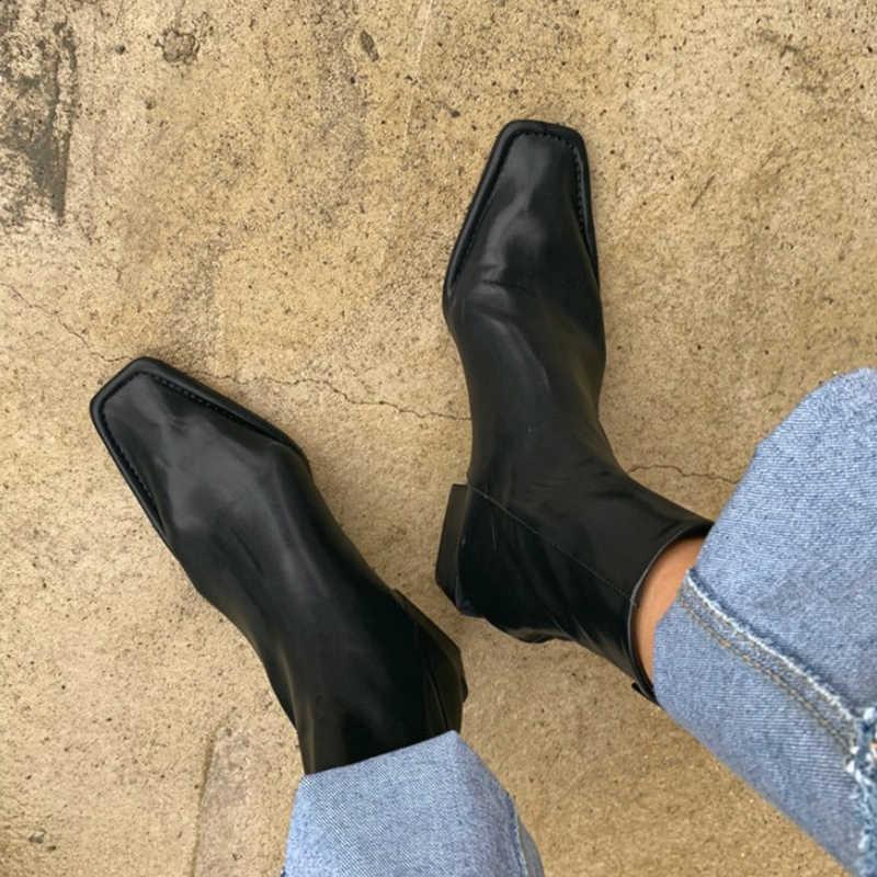 2020 moda kadın yarım çizmeler kare ayak düşük topuk ayakkabı kadın geri fermuar kısa patik siyah beyaz Botas Mujer
