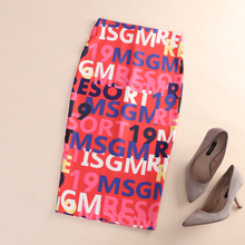 European Station Early Autumn 2019 New High-waist Alphabet Printed Half-length Hip-wrapped One-Step Skirt