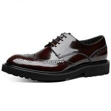 Formal Men Dress Shoes Genuine Leather Shoes Lace Up Brogue Shoes Flats Oxfords For Men Wedding Office Business Shoes цена 2017