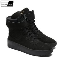 Men Fashion Ankle Flat Boots Genuine Leather High Top Shoes Black Platform Sneaker Brand Tactical Military Boots Plus Size 46(China)