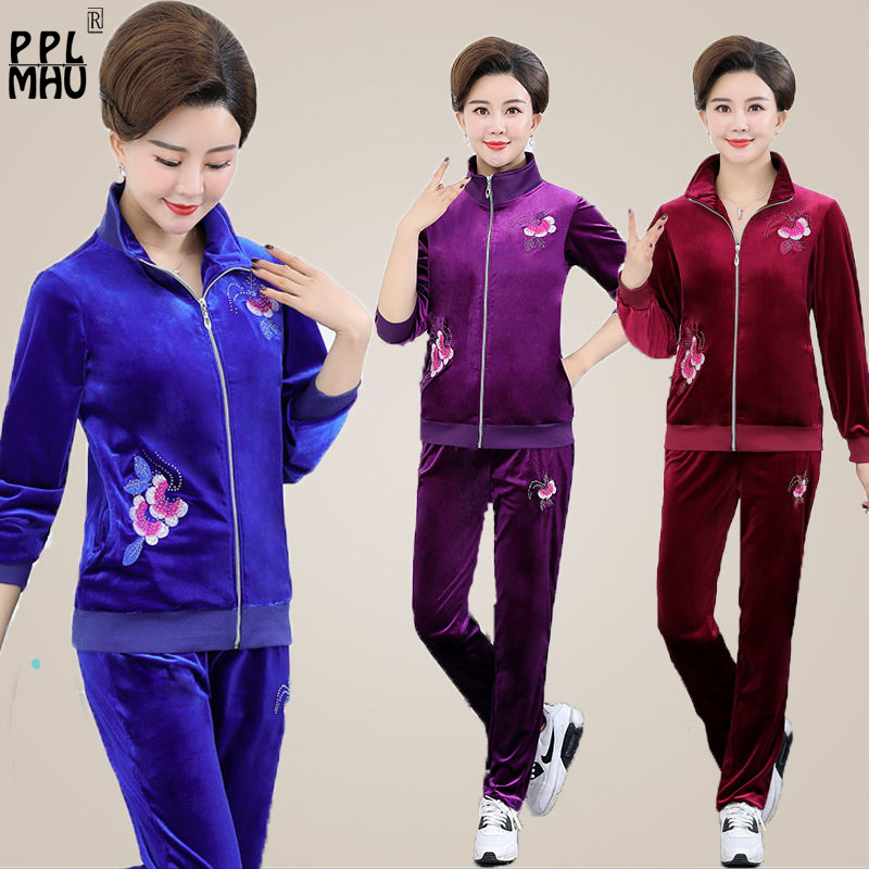 Plus Size 5XL Embroidery Two Piece Set Casual Velvet Sportswear Suits For Mom Long Sleeves Zip Top And Pants Tracksuits Fashion