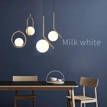 Dropshipping żyrandol w stylu nordyckim minimalistyczna sztuka żyrandole sufitowe LED powiesić szklaną kulkę salon sypialnia restauracja/Bar oświetlenie domu