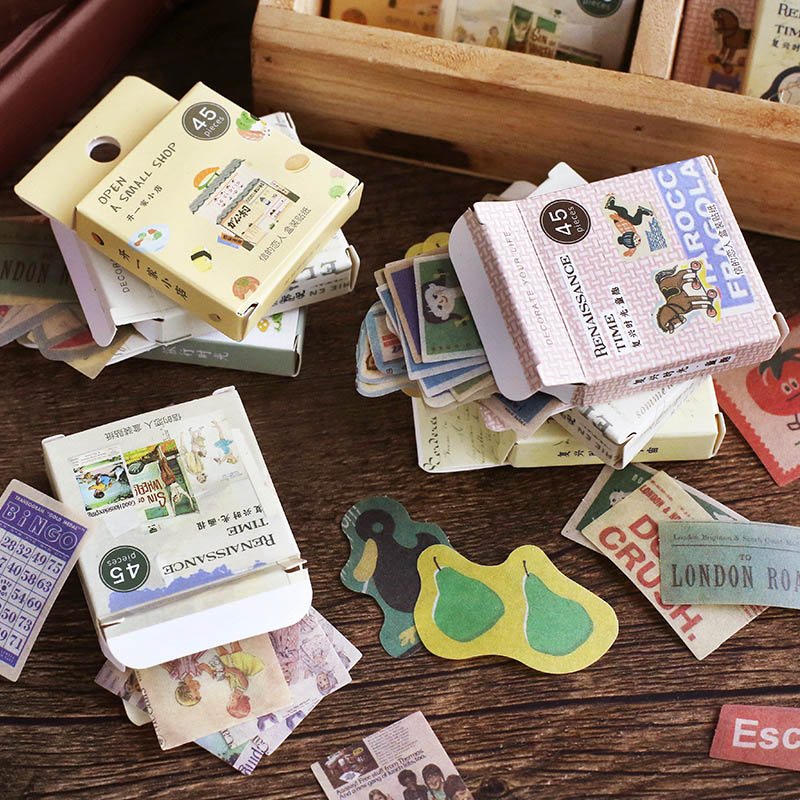 45 Pcs/Box Vintage Stamp Stickers Cute Travel Adhesive Stickers Kawaii Drink Decorative Stickers Diary Scrapbooking Supplies