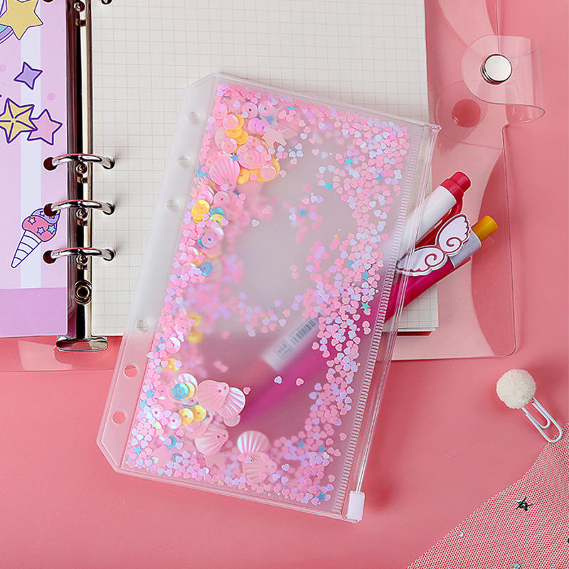 A5/A6/A7 Loose-leaf Notebook Zipper Bag Pink Sequin File Folder Holder Bags 6 Hole Transparent PVC Business Diary Storage Pouch