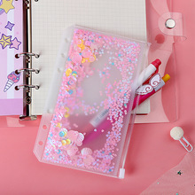 A5/A6/A7 Loose-leaf Notebook Zipper Bag Pink Sequin File Folder Holder Bags 6 Hole Transparent PVC Business Diary Storage Pouch transparent pvc a5 a6 file folder pink most cute loose leaf binder bag pouch diary planner storage bags kawaii supplies