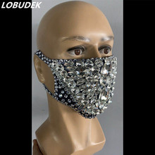 Male Female Masked Singer Rhinestones Mask Stage Accessories Bar Club Party Show