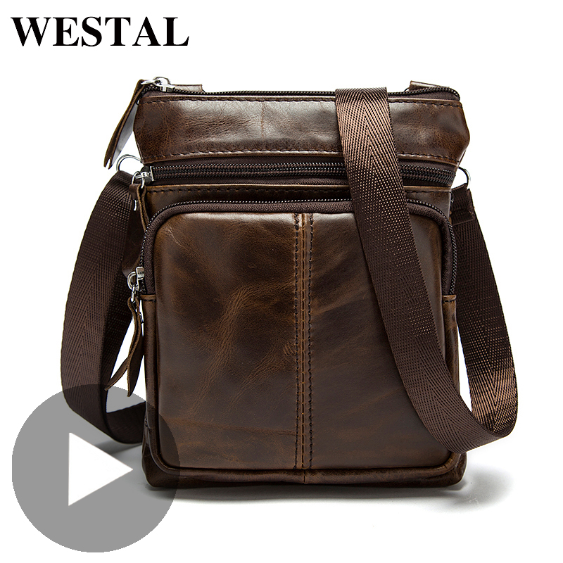 Westal Shoulder Messenger Women Men Bag Genuine Leather Office Work Business Briefcase For Handbag Male Female Portafolio Retro
