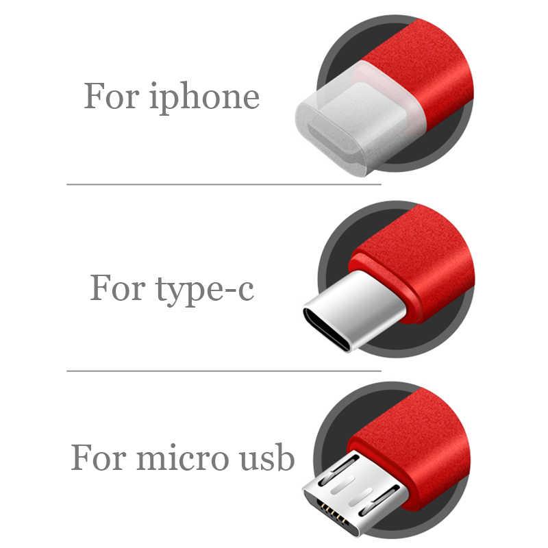 3 في 1 كابل يو اس بي على الإضاءة ل فون 11 مايكرو نوع C ل Xiaomi ملاحظة 7 النايلون سريع شحن سلك كابل يو اس بي على جميع هاتف ذكي