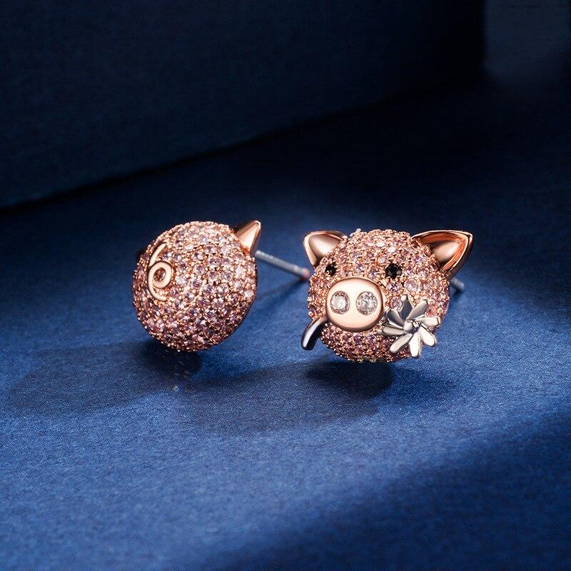 2019 New Fashion Sweet Little Pig Earrings Personality Cute AAA Zircon Stud Earrings Jewelry Boucle D'oreille Femme