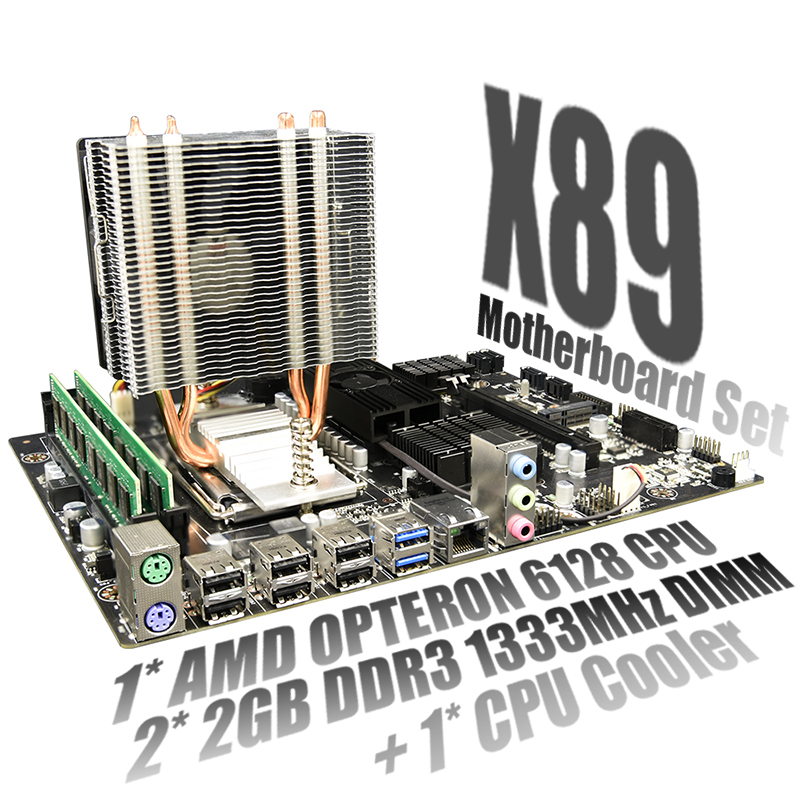 X89 Set Combo For AMD Motherboard <font><b>G34</b></font> <font><b>Socket</b></font> DDR3 Memory SATA2 USB 3.0 with AMD Opteron 6128 + 2X 2GB DDR3 1333MHz RAM + CPU Fan image