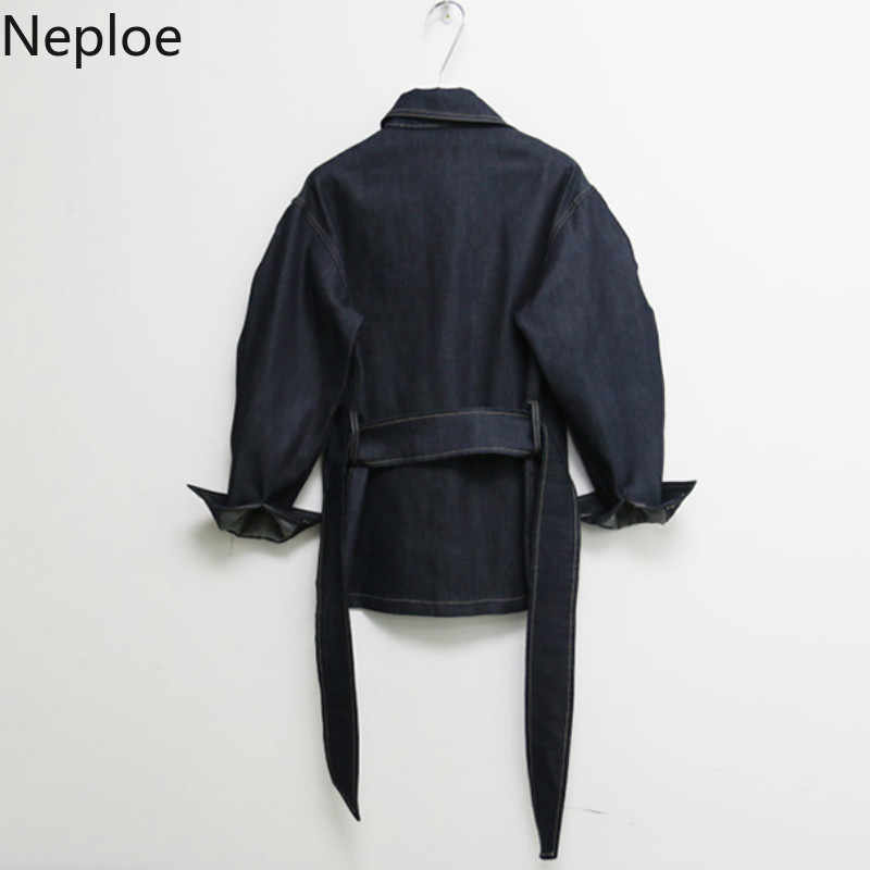Neploe 韓国ストリートデニム女性ジャケット春 2019 スリムサッシジーンズジャケットロングコート女性ウインドブレーカーファッション