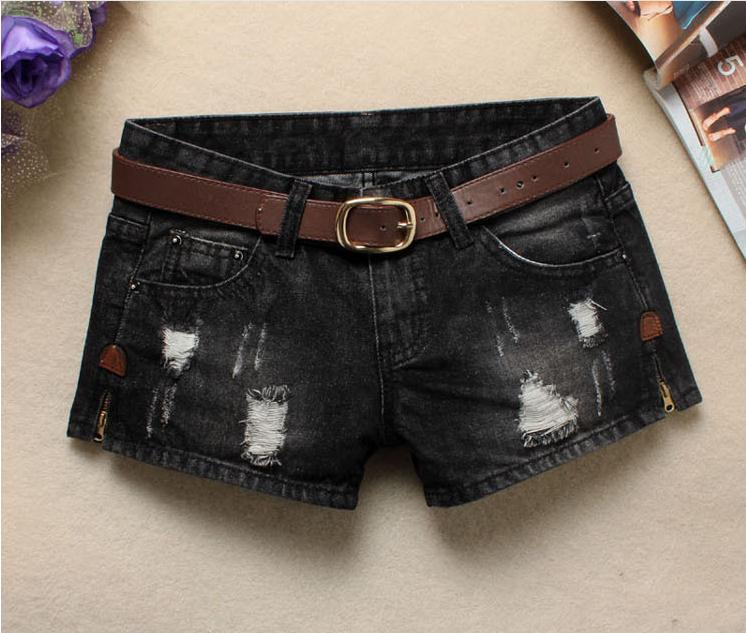 Women Sexy Mini Shorts Rivet Holes Jeans Low Waist Shorts Without Belt Ripped Denim Short 31