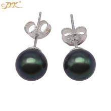 JYX Classic Black Round Pearl Earrings Stud 7.5-8mm Tahitian Color 925 Sterling Silver simple style reticulated round silver earrings simple style earrings