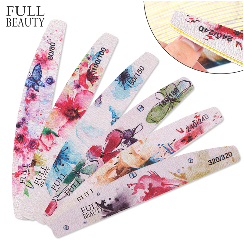 6pc Professional Nail Files Flower Printed Moon Sandpaper Black Buffer Manicure Set 80/100/150/180/240 Washable Nail Tool CH2008