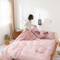 Brief Style Crystal Velvet Embroidery 4pcs Duvet Cover Flat Fitted Bed Sheet Pillowcases Little Red Hat Cactus Banana Pink Blue