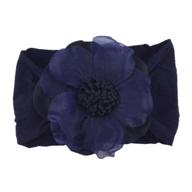 Miękka dzianina bawełniana Baby Heaband uroczy kwiat elastyczna opaska dla niemowląt śliczne dziewczyny duży kwiatowy wzór pałąk nakrycia głowy odzież Photograp