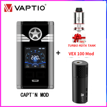 Vaptio CAPT'N Vape Mod 220W With VEX 100 Box Mod E Cigarette Vex100 100W Fit Dual 18650 Battery Gift Turbo 510 Atomizer Vape Kit vaptio capt n mod 220w 510 box mod with gift fusion e vape kit dual 18650 battery box mod electronic cigarette fusion core head