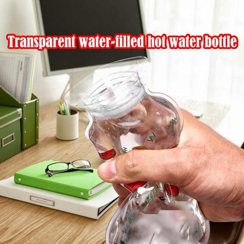 Invierno a prueba de explosiones lindo transparente Mini bolsillo botella de agua caliente calienta manos PVC para estudiantes niños 105x195mm