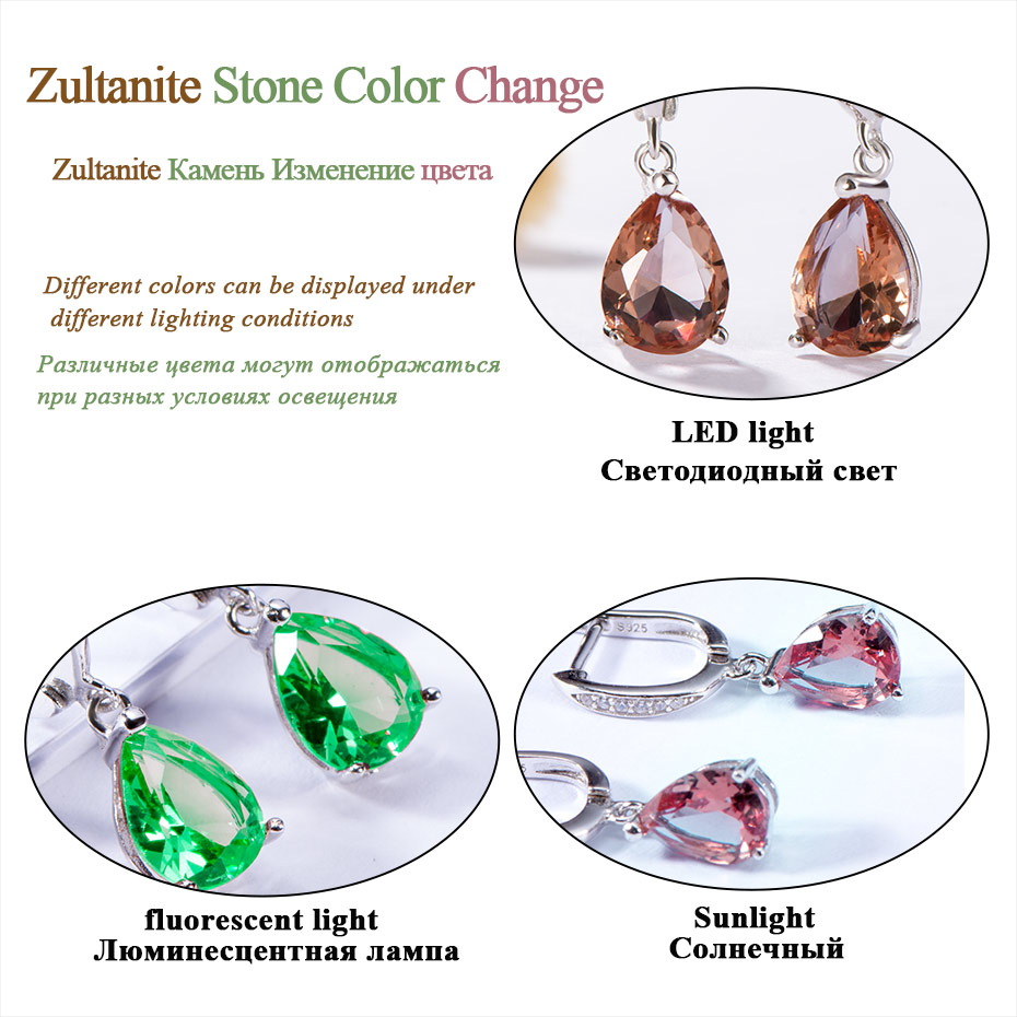 Hff8105aadde444c58e752a21b00e8a992 Kuololit Zultanite Gemstone Clip Earrings for Women Solid 925 Sterling Silver Created Color Change Earrings Wedding Fine Jewelry