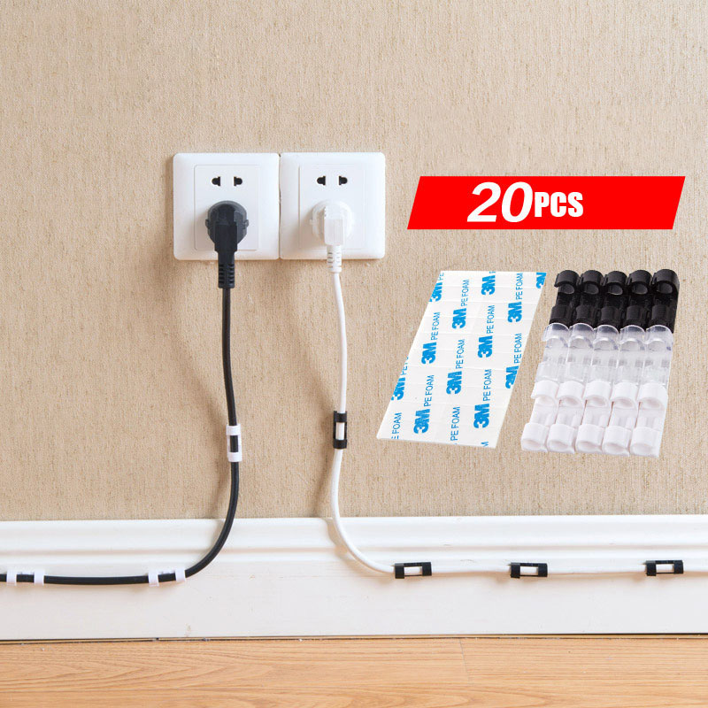 20PCS White Viscosity Cable Wire Organizer Cable Drop Clip Tidy USB Charger Cord Holder Home Desktop Fitted Clamp Self-Adhesive