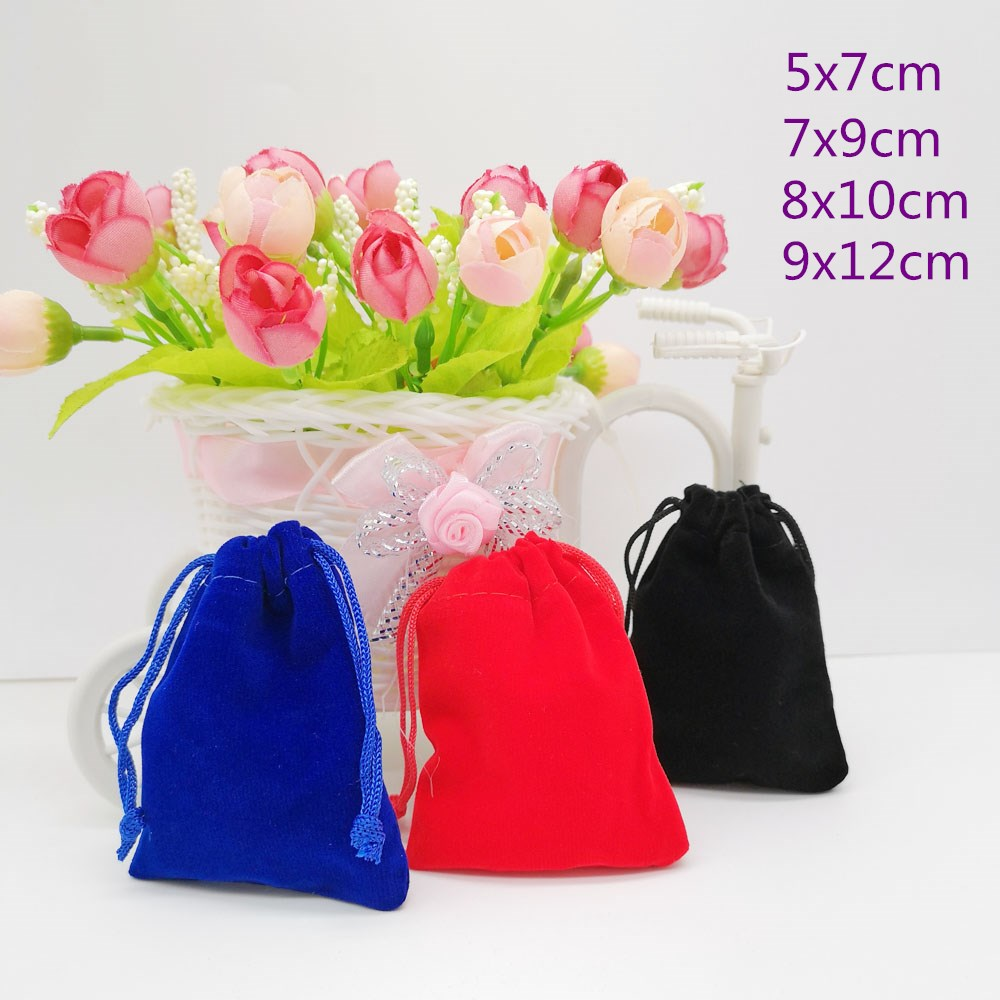 10pcs Velvet Pouch Jewellery Bag Pouches Velvet Bag Drawstring Jewelry Packaging Display Bags Jewelry Bags Pouch 5x7 7x9 9x12cm