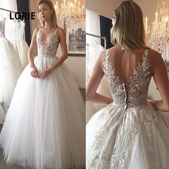 LORIE Ball Gowns  Wedding Dresses Elegant Lace Bridal Gowns Sleeveless illusion Bride Dresses Plus Size Country wedding no Tail lorie half sleeves champagne wedding dresses with pocket elegant satin lace ball gown bridal gowns back illusion bride dress
