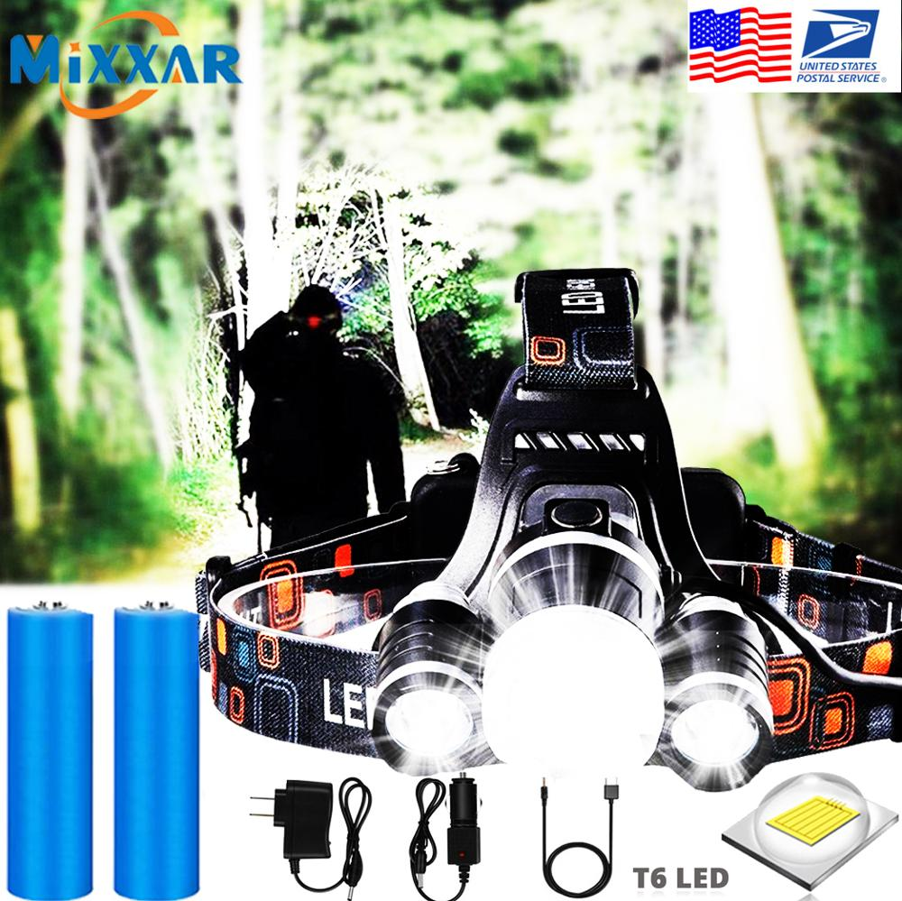 EZK20 Dropshipping Headlamp Flashlight Rechargeable 3 T6 R5 LED Hard Hat Headlight Battery Car Wall Charger for Camping