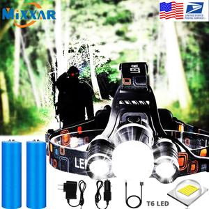 EZK20 Dropshipping Headlamp Flashlight Rechargeable 3 T6 R5 LED Hard Hat Headlight Battery Car Wall Charger for Camping(China)