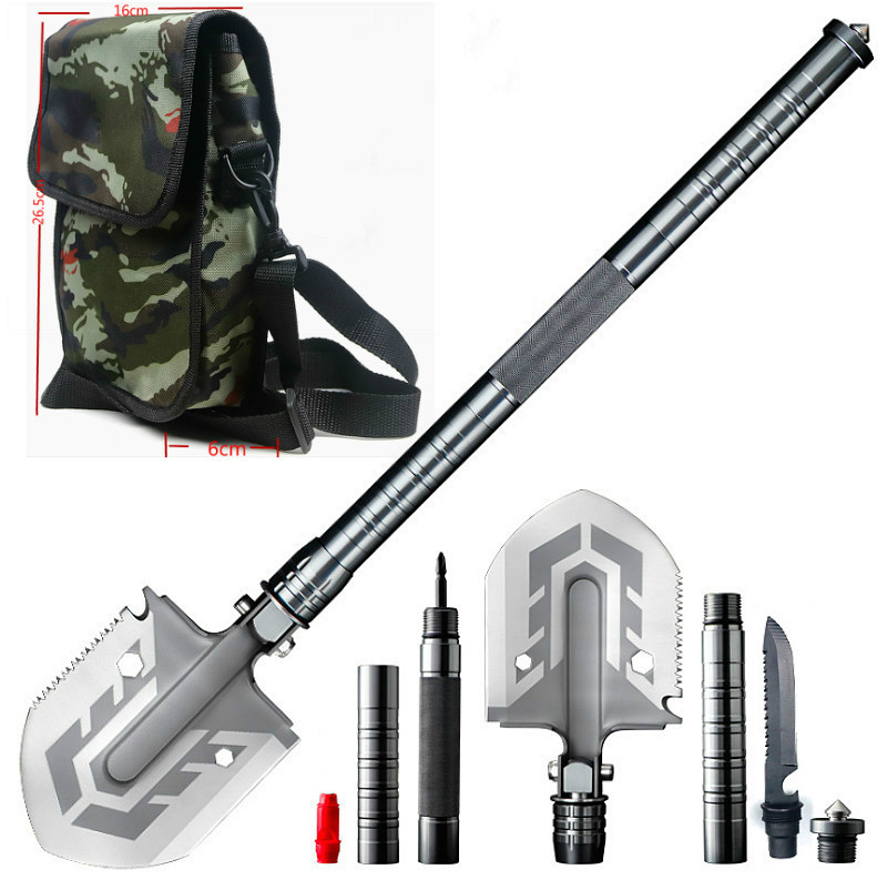 67cmOutdoor Multi-function Folding Shovel Off-road Folding Engineer Shovel Outdoor Camping Tool Garden Shovel + One Shoulder Bag