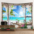 Lingxia-Beach beach landscape environmentally friendly printing tapestry is soft and easy to care for mural wall covering