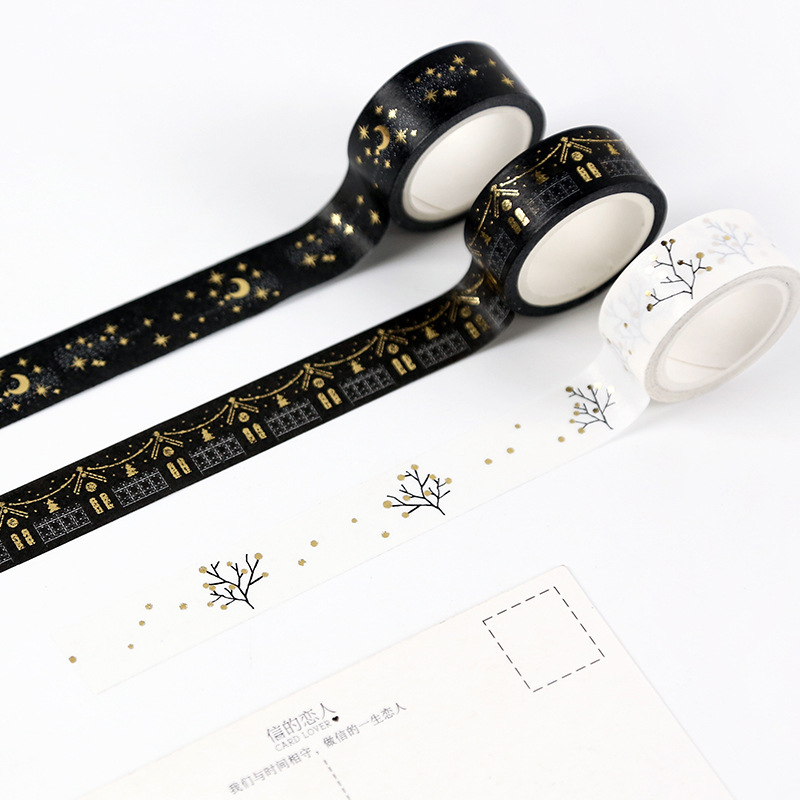 Creative Flashing Gold Foil Festivals Snowflakes Moonlight Wishing Tree Decorative Masking Washi Tape DIY Diary Scrapbooking