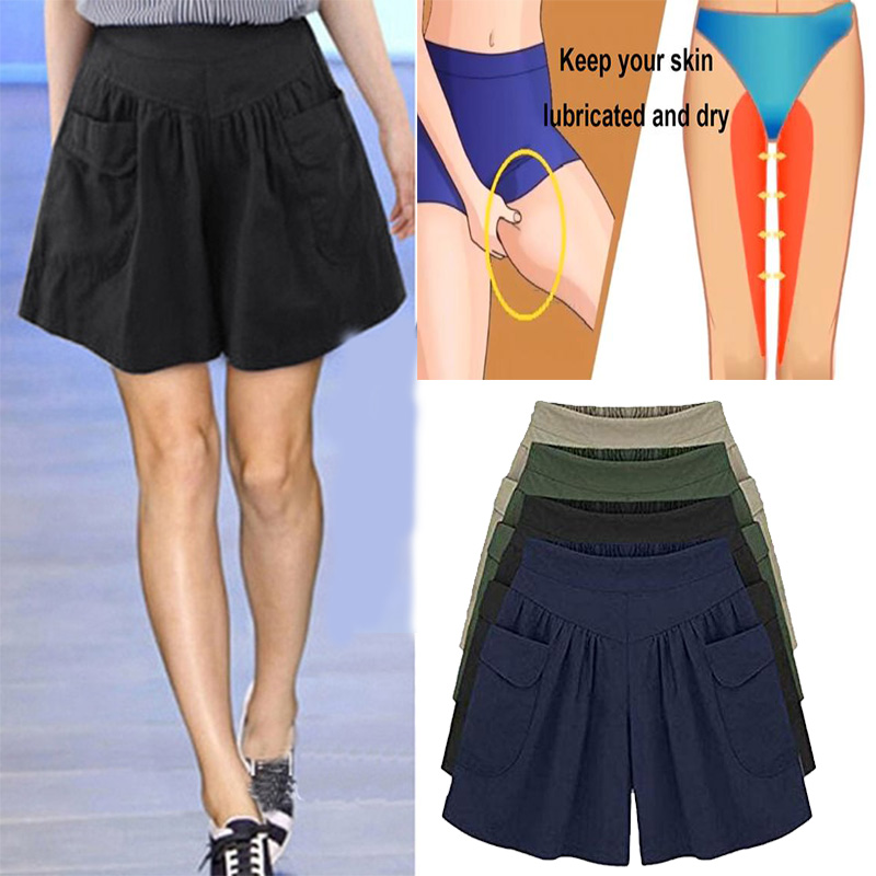 Loose Soft Anti-chafing Wide Leg Pockets Flared Breathable For Women Summer GDD99