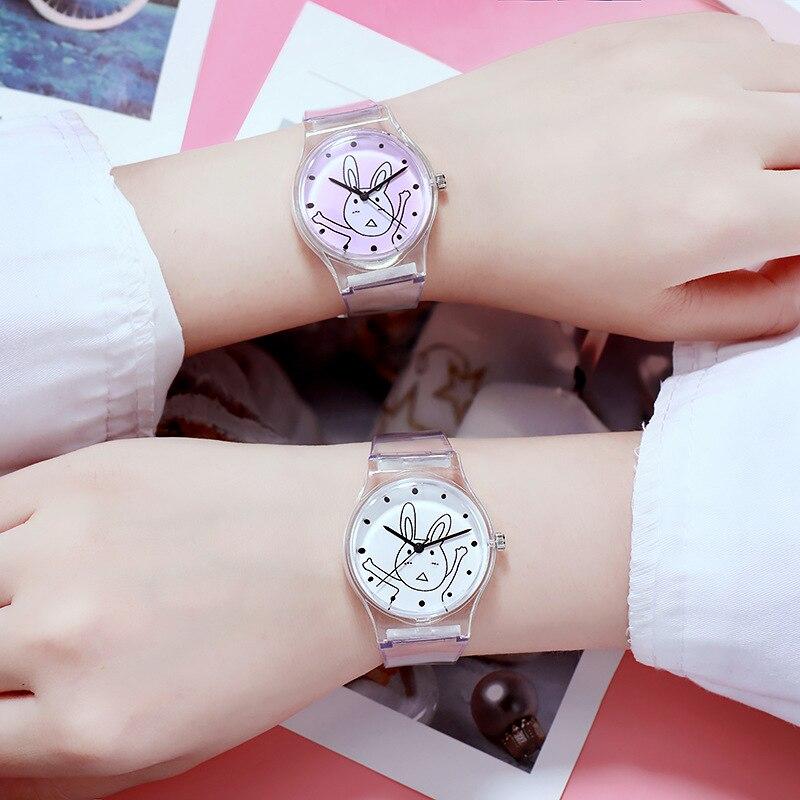Women Girl Quartz Watch Cartoon Animal Dial Transparent Band Fashion Student Wrist Watch TT@88