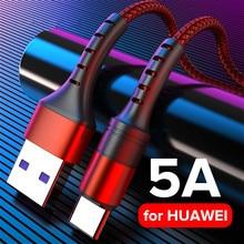 USB-кабель 5A Type C QC3.0, провод для сверхбыстрой зарядки, телефонный шнур USBC, кабель Type-C для Huawei Mate 40, 30, P40, P30 Pro, Honor 10, Nova