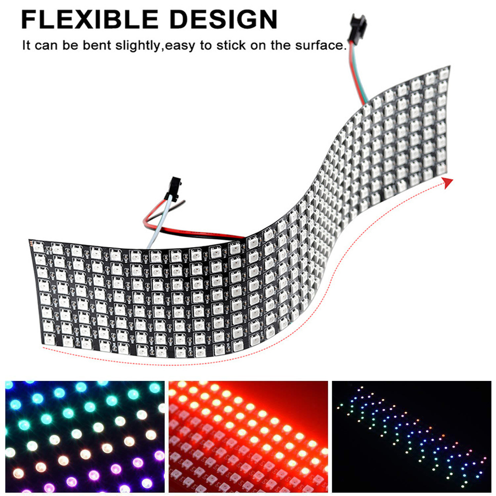 8x32 16x16 Pixels WS2812 Digital Flexible LED Program Display Panel Screen Individually RGB Addressable 5050 Led Modules Strip