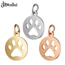 Jaymaxi Animal Paws Charms High Polished Stainless Steel with Jump Rings Gold Color DIY Jewelry Findings 20Pieces/lot(China)