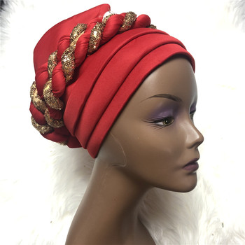 Nigerian Gele Headtie with Sequins Already Made Auto Gele Turban Cap African Aso Ebi Gele Aaso Oke Head tie with Beads 2020 image