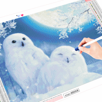 HUACAN Full Drill Square Diamond Painting Landscape Diamond Embroidery Winter Rabbit Owl Picture Of Rhinestone