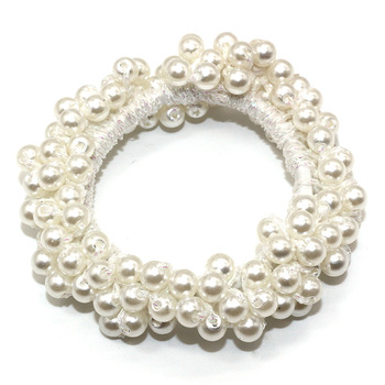 14 Colors Woman Elegant Pearl Hair Ties Beads Girls Scrunchies Rubber Bands Ponytail Holders Hair Accessories Elastic Hair Band 29