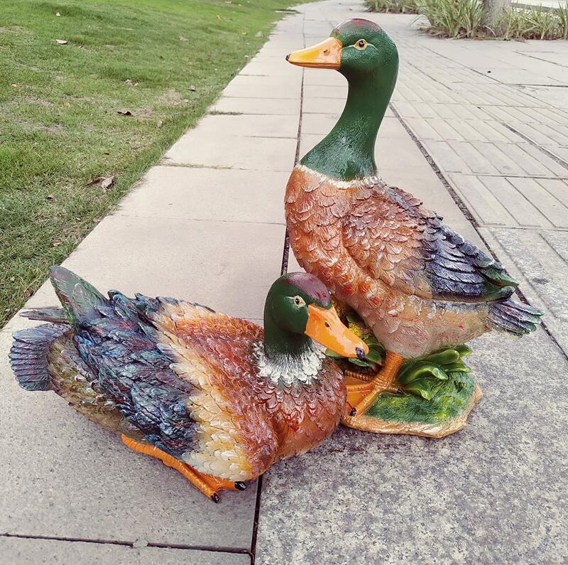 Simulação pastoral animais resina patos decoração jardim pátio estátua acessórios artesanato parque ao ar livre villa figurinhas decoração