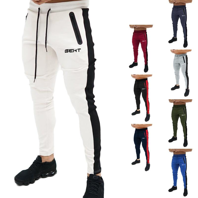 Men Sweatpants Fitness Bodybuilding Men Pants Casual Print Men Joggers Pants Cotton Sweatpants Slim Fit Streetwear Male Trouser