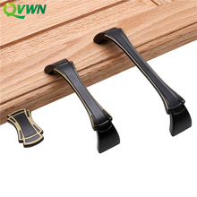 QVWN Black Solid Zinc Alloy Chinese Handles Modern Simple Drawer Shoe Cabinet Wardrobe Door