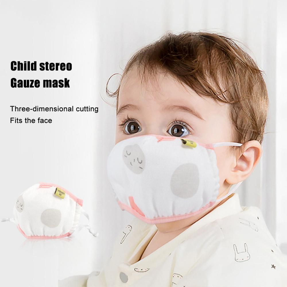 1Pc Baby Aged 0-3 Infant Gauze Mouth Mask Pattern Dustproof Anti-Haze 6-Layers Cotton Cartoon Animal Washable Earloop Mouth-Mu