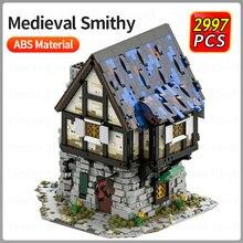 Конструктор 3D Строительные блоки с изображением городской улицы, строительные блоки, конструктор MOC, древние средневековые Смиты, детские к...
