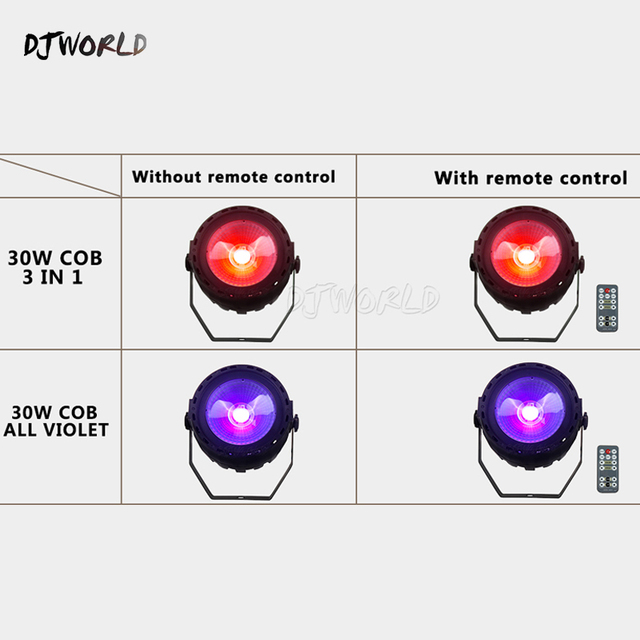 Djworld Wireless Romote Control LED Par COB 30W RGB 3in1 or UV Light DMX 512 With Strobe Stage Light for DJ Party Disco lights
