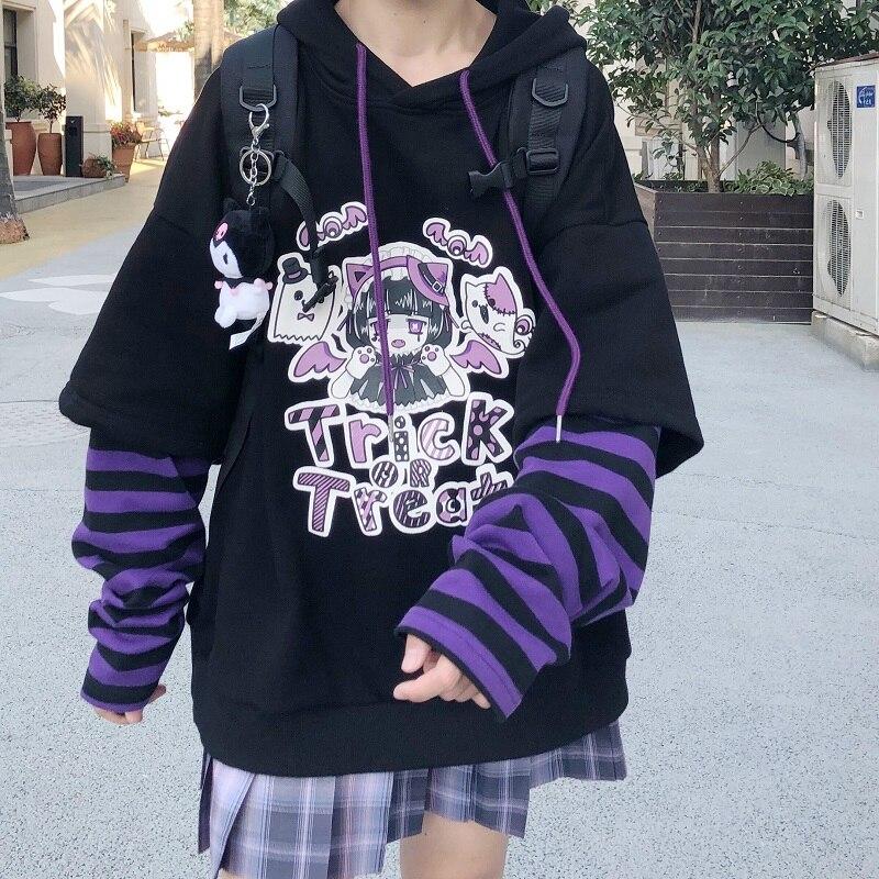 Japonês casual dos desenhos animados manga longa anime hoodies feminino hip hop harajuku kawaii outono solto plus size vintage moletom com capuz