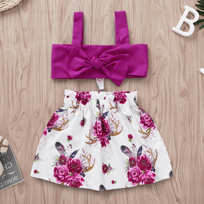 Girls Boutique Two Piece Skirt Set Violet Crop Top Floral Ruffle Skirt Little Girls Summer Outfits 1 To 4 Years