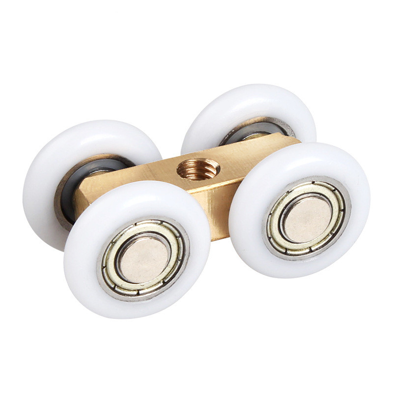 1Pcs Shower Room Copper Four-wheel Hanging Pulley Roller For Bathroom Glass Slide Door Waterproof Bearing Crane Toilet Door
