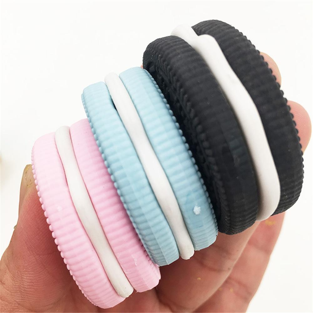 1Pcs Eraser Chocolate Cake Strawberry Biscuit Cookie Modeling School Supplies Sandwich Pink Blue Black Dessert Style Rubber